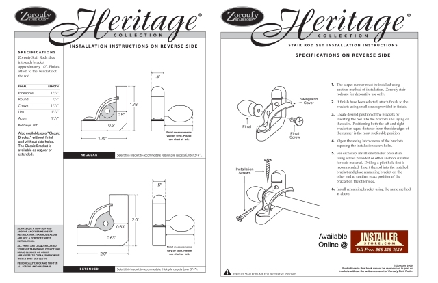 Installerstore - Zoroufy Heritage Instructions
