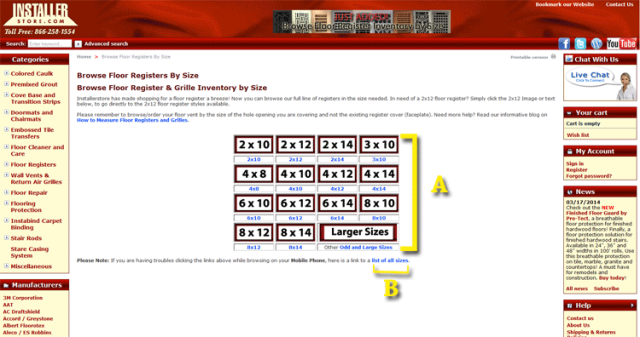 Installerstore - Floor Register Sizes