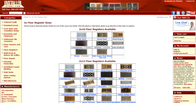 Installerstore - Browse Floor Register Sizes